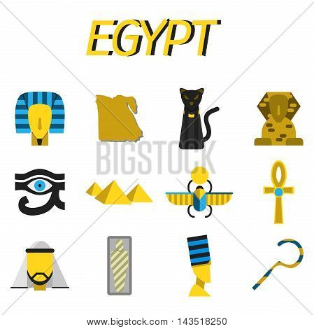 Set of vector flat design Egypt travel icons and infographics elements with landmarks and famous Egyptian symbols