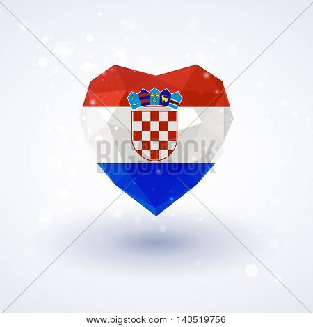 Flag of Croatia in shape of diamond glass heart in triangulation style for info graphics, greeting card, celebration of Independence Day, printed materials