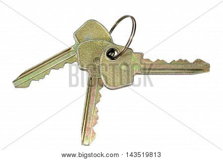 Bunch of keys isolated on white background