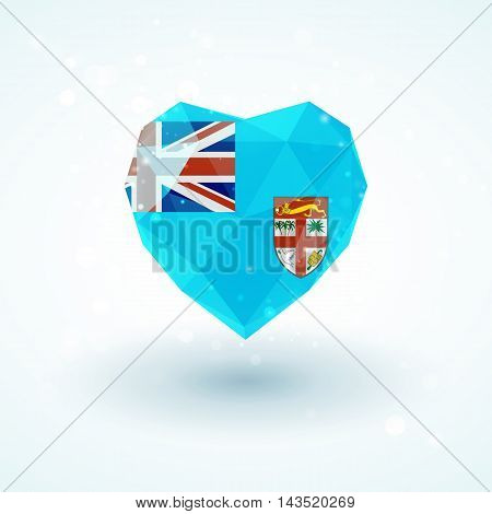 Flag of Fiji in shape of diamond glass heart in triangulation style for info graphics, greeting card, celebration of Independence Day, printed materials