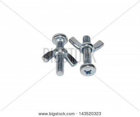 metal screw bolt and nuts isolated on white background