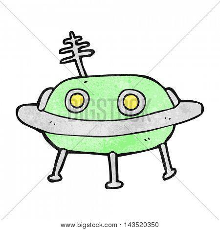 freehand textured cartoon alien spaceship