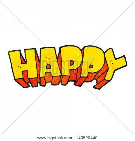 freehand textured cartoon word happy