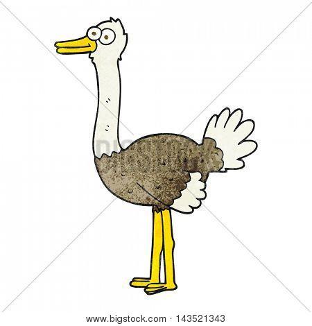 freehand textured cartoon ostrich