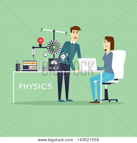 Physics Scientist working in laboratory. Male and female. Education. School, College. Flat design vector illustrations.