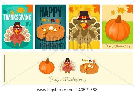 Happy Thanksgiving Cards Set. Cartoon Turkey with Hat Pumpkin and Pie. Turkey Day Posters Collection. Vector illustration.
