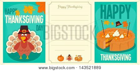 Happy Thanksgiving Cards Set. Cartoon Turkey with Hat Pumpkin Pie. Turkey Day Posters Collection. Vector illustration. Place for Text.