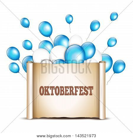 Balloons with paper scroll in traditional colors of Bavaria. Oktoberfest card design template.