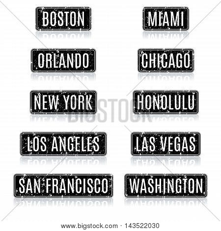Set grunge square frames with the names of the most visited tourist cities in the USA with a mirror reflection vector illustration.