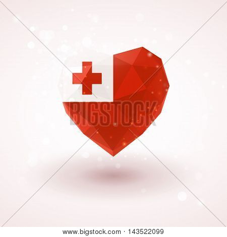 Flag of Tonga in shape of diamond glass heart in triangulation style for info graphics, greeting card, celebration of Independence Day, printed materials