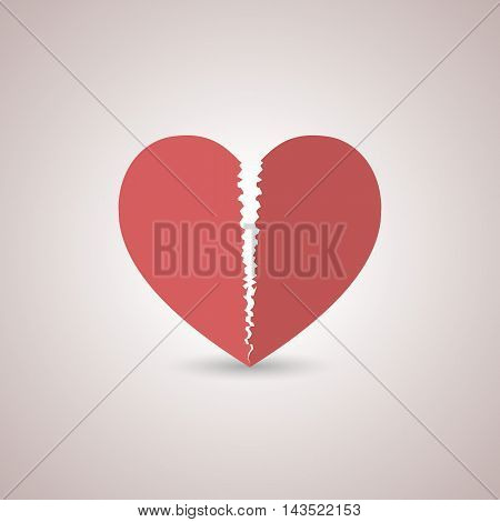 Icon red paper broken heart with shadow flat style isolated on a light background vector illustration.