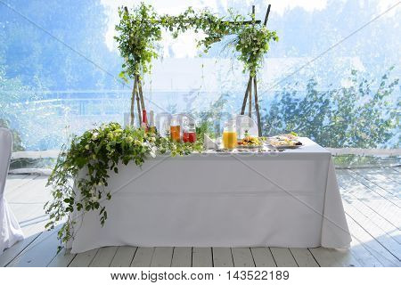 Saint Petersburg, Russia, June 25, 2016: hotel Shuvaloff, wedding table in the Banquet hall for the newlyweds.