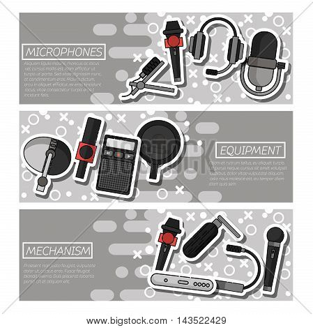 Set of Horizontal Banners about Different microphones types. Journalist microphone, interview, music studio. Web broadcasting microphone, vocal tool, tv show microphone.