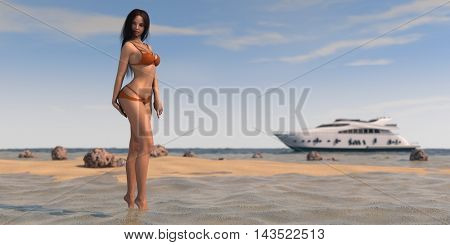 3d illustration of a young woman on shore