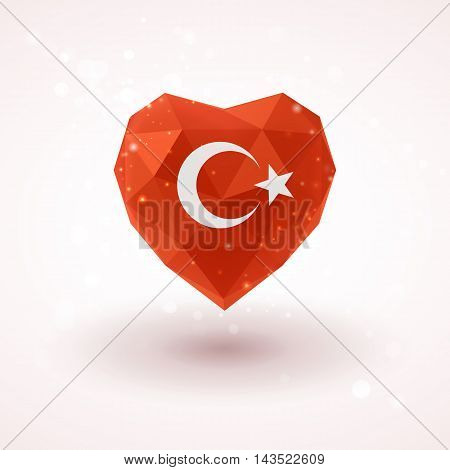Flag of Turkey in shape of diamond glass heart in triangulation style for info graphics, greeting card, celebration of Independence Day, printed materials