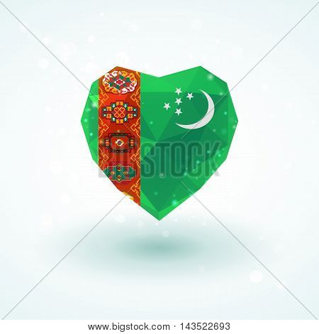Flag of Turkmenistan in shape of diamond glass heart in triangulation style for info graphics, greeting card, celebration of Independence Day, printed materials