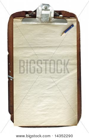 Battered old wooden clipboard, with aged paper and pencil stub.