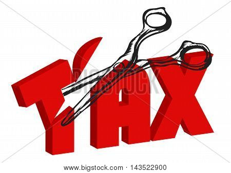 scissors cut taxes. business concept vector illustration