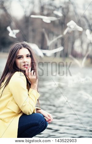 Magnificent Woman with black hair. Outdoors. Fashion Beauty Portrait