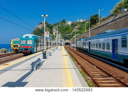 Railway station in Corniglia. One of the five famous Italian villages in the Cinque Terre National Park. Italy.