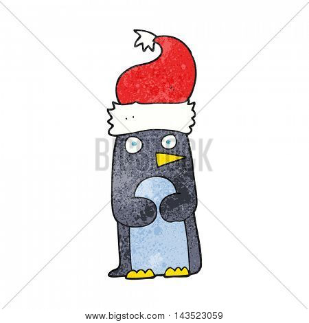 freehand textured cartoon penguin in christmas hat