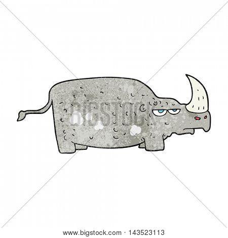 freehand textured cartoon rhino