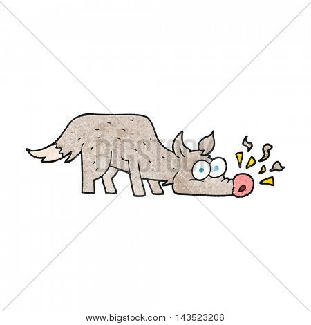 freehand textured cartoon dog sniffing
