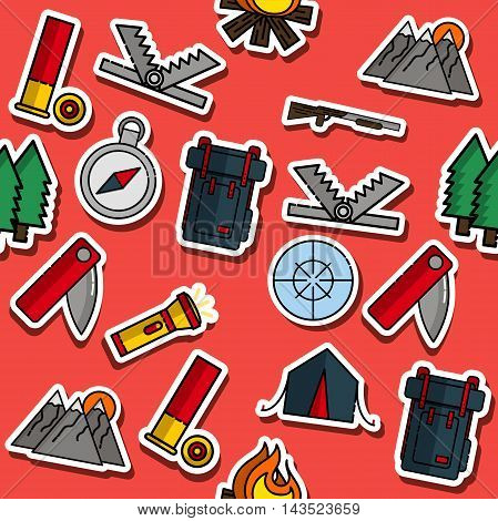 Hunting pattern. Dog hunting, equipment. Flat style Vector illustration