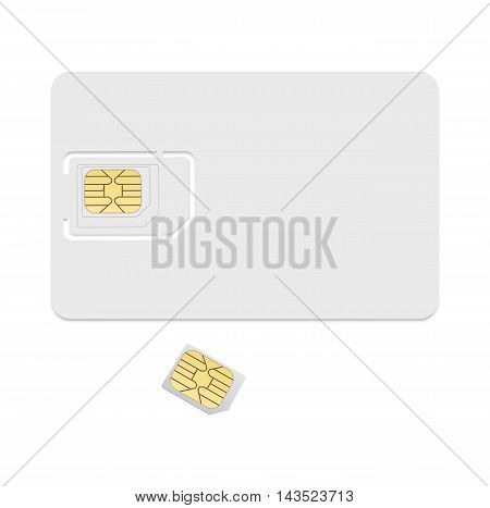 Blank sim card template. Realistic vector icon isolated on white background