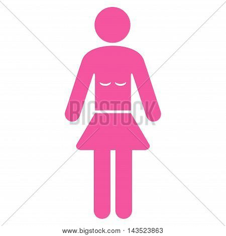 Lady icon. Vector style is flat iconic symbol with rounded angles, pink color, white background.