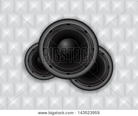 audio speakers on geometric abstract background