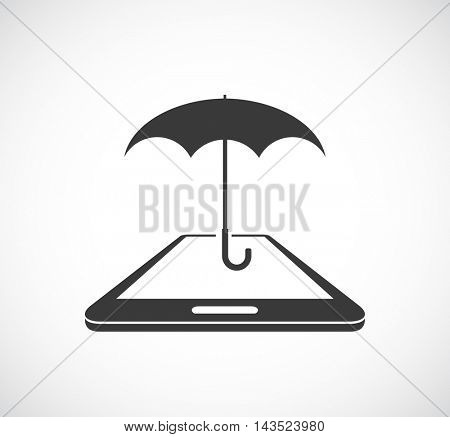 smartphone protected with umbrella icon