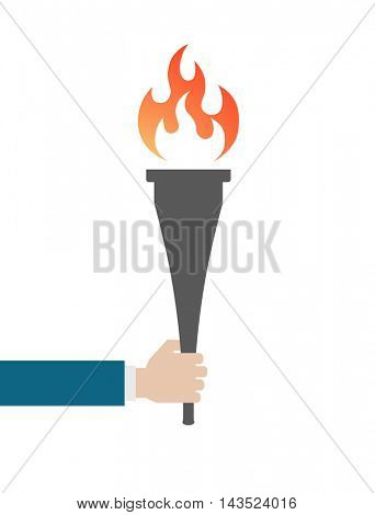 hand keeps torch flame icon