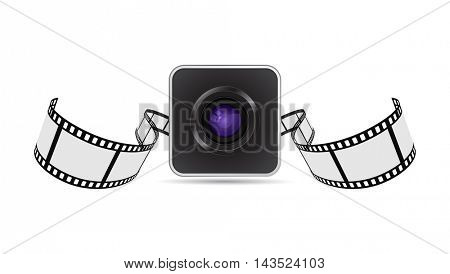 camera lens and film strip icon 3d