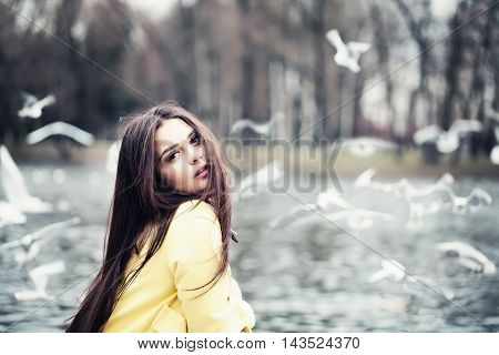Magnificent Woman Outdoors. Fashion Model in Park