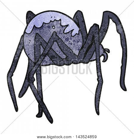 freehand textured cartoon creepy spider