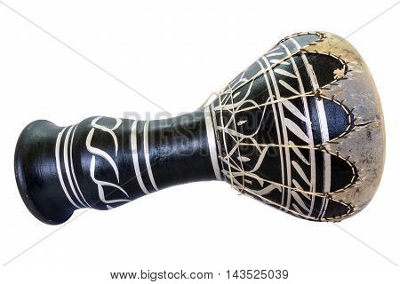 Traditional musical instument Djembe drum isolated on white background