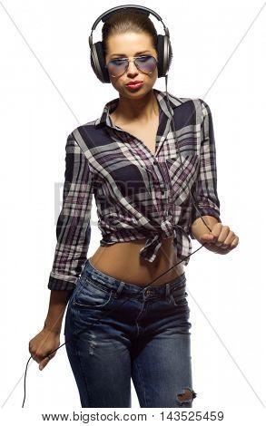 Young woman in blue jeans isolated