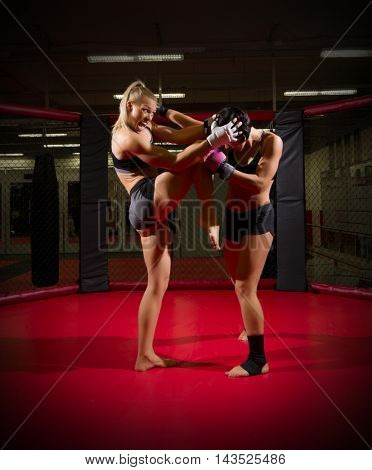 Two wrestler woman at gym
