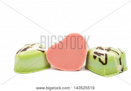 chocolate hearts decorative  pastry candies on white