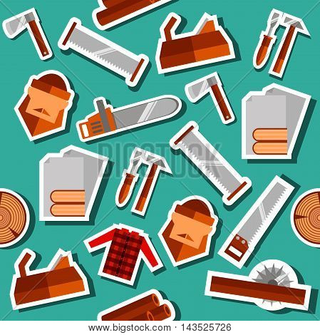 Lumberjack flat collage set with lumberjack tools icons vector illustration. Lumber axe, wood truck, woodcutter and other