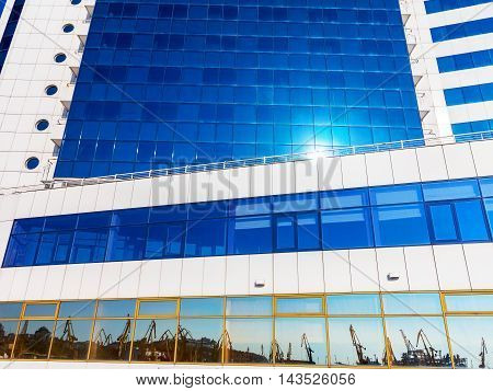 Odessa, Ukraine August 15, 2016: Bottom View Of Modern High Rise Building In The Port In The Sunset