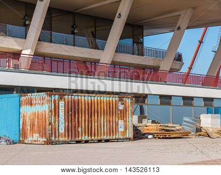 Odessa, Ukraine - August 15, 2016: Metal Containers And Building Materials. Stopped Restoration At T