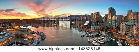 VANCOUVER, BC - AUG 17: Vancouver bay aerial view on August 17, 2015 in Vancouver, Canada. With 603k population, it is one of the most ethnically diverse cities in Canada.