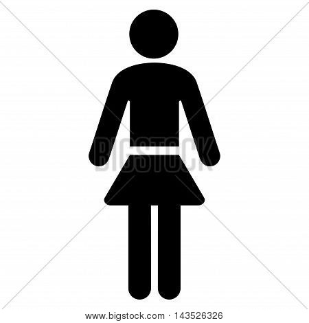 Lady icon. Vector style is flat iconic symbol with rounded angles, black color, white background.