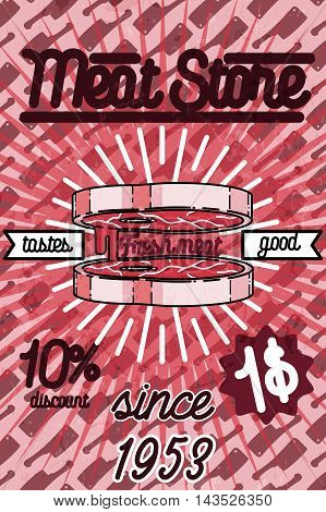 Meat store banner, charcuterie, deli shop, butchery market vector badge, label