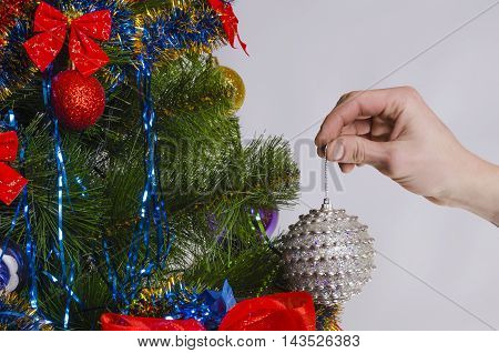 fir-tree branch in New Year's evening with a glass toy