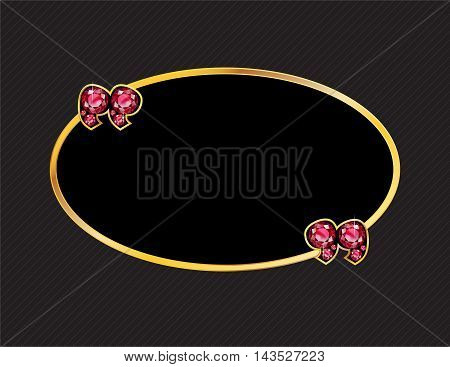 Ruby Stone Quotes on Gold Metal Speech Bubble over Pinstripe Background