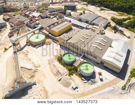 Aerial view of industrial zone with sewage treatment. Industry and environment in Central Europe.