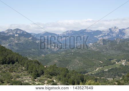 Mountainous area around Tarragona in Tarragona, Catalonia, Spain.
